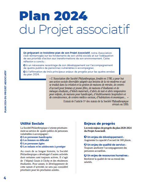 Page 4 Plan 2024 du Projet Associatif de la Société Philanthropique